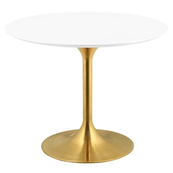 Odyssey 40 in. Round Gold + White Dining Table