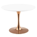 Odyssey 40 in. Round Rose Gold + White Dining Table