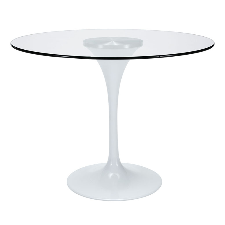 odyssey 40 round glass modern dining table eurway. Black Bedroom Furniture Sets. Home Design Ideas