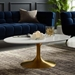 Odyssey 42 in. Mid-Century Oval Gold + White Coffee Table