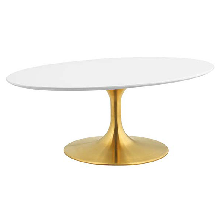 Odyssey 42 in. Modern Oval Gold + White Coffee Table