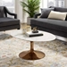 Odyssey 42 in. Mid-Century Oval Rose Gold + Faux Marble Coffee Table