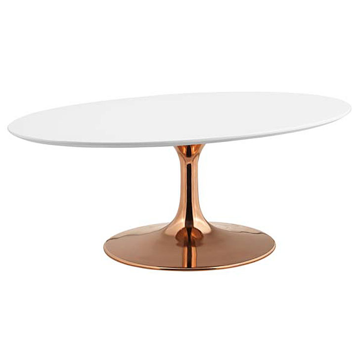 Odyssey 42 in. Modern Oval Rose Gold + White Coffee Table