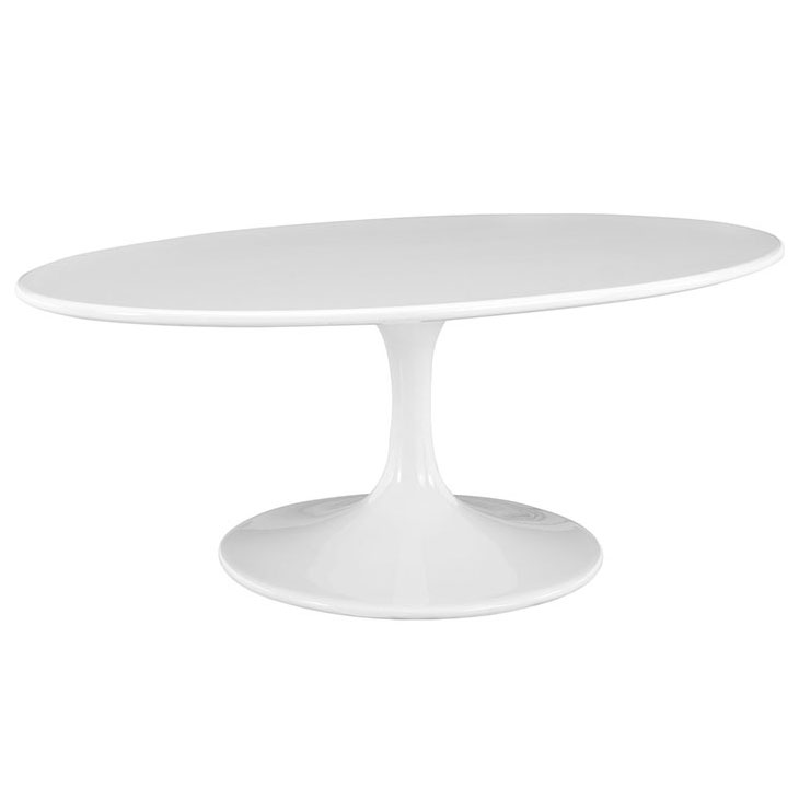 Odyssey 42 in. Modern Oval White Coffee Table
