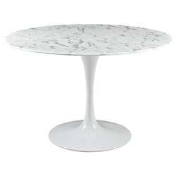 Odyssey 47 in. Modern Round Faux Marble Dining Table