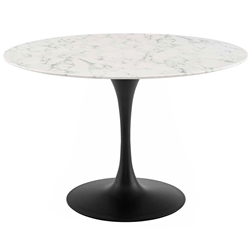 Odyssey 47 in. Round Faux Marble + Black Dining Table