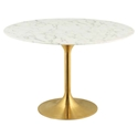 Odyssey 47 in. Round Gold + Faux Marble Dining Table