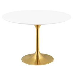 Odyssey 47 in. Round Gold + White Dining Table