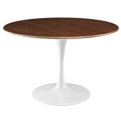 Odyssey Modern 47 in. Round Walnut + Metal Dining Table