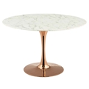 Odyssey 47 in. Round Rose Gold + Faux Marble Dining Table