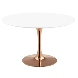 Odyssey 47 in. Round Rose Gold + White Dining Table