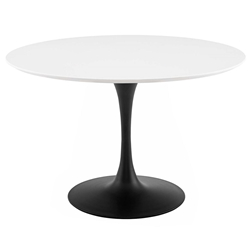 Odyssey 47 in. Round White Wood + Black Dining Table