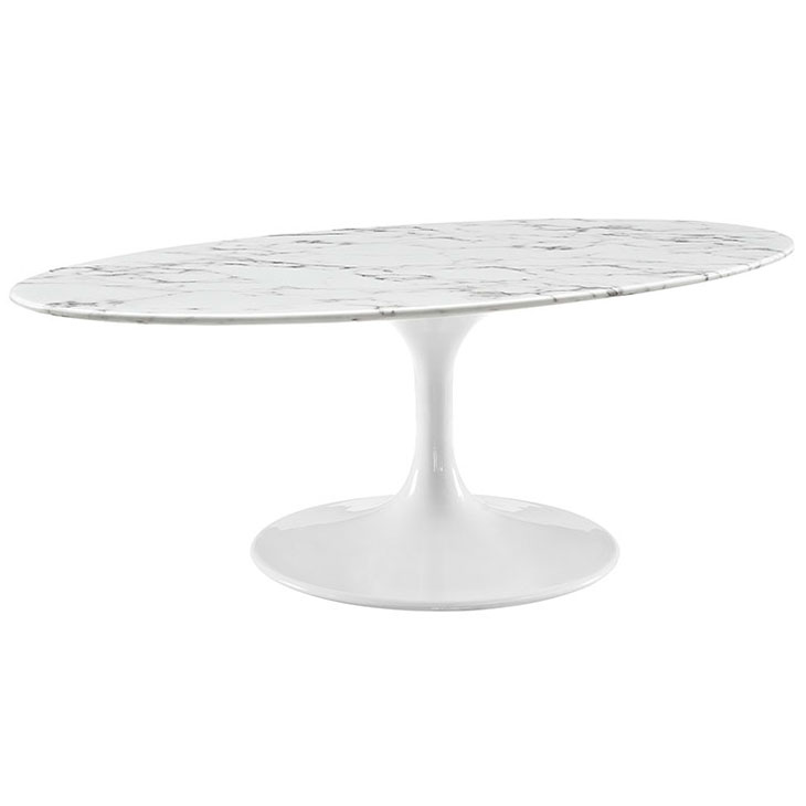 Odyssey 48 in. Modern Oval White + Faux Marble Coffee Table