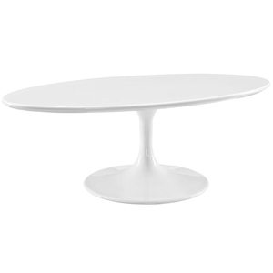 Odyssey 48 in. Modern Oval White Coffee Table