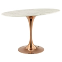 "Odyssey 48"" Oval Rose Gold + Faux Marble Modern Dining Table"