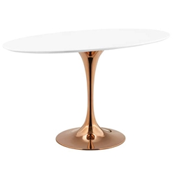 "Odyssey 48"" Oval Rose Gold Modern Dining Table"