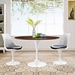 "Odyssey 48"" Oval White + Walnut Mid-Century Modern Dining Table"
