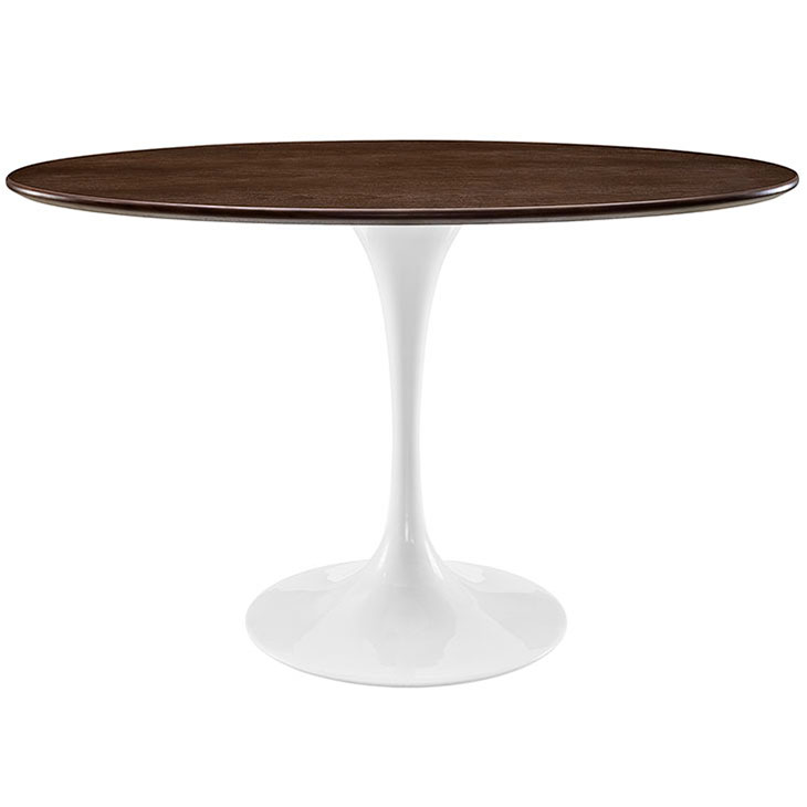 "Odyssey 48"" Oval White + Walnut Modern Dining Table"