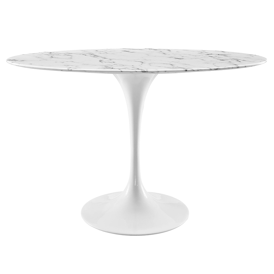 Oval marble dining table -  Odyssey 48 White Marble Oval Contemporary Dining Table