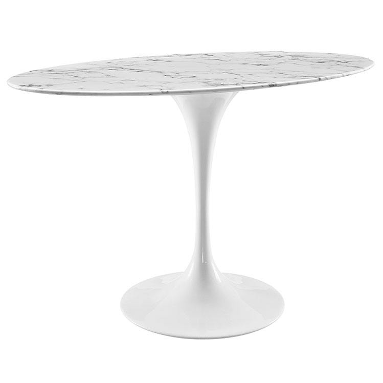 "Odyssey 48"" White Marble Oval Modern Dining Table"