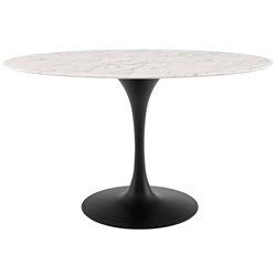 Odyssey 54 in. Oval Faux Marble + Black Dining Table