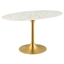 "Odyssey 54"" Oval Gold + Faux Marble Modern Dining Table"