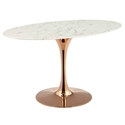 "Odyssey 54"" Oval Rose Gold + Faux Marble Modern Dining Table"