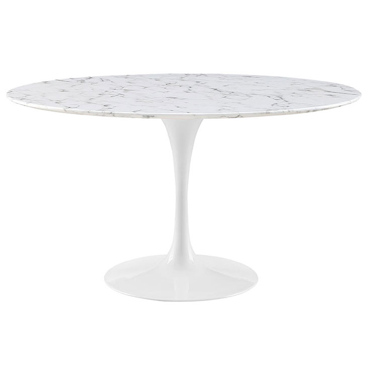 Odyssey 54 in. Modern Round Faux Marble Dining Table