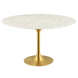 Odyssey 54 in. Round Gold + Faux Marble Dining Table