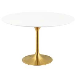 Odyssey 54 in. Round Gold + White Dining Table