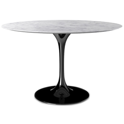 Odyssey 54 in. Round Dining Table - Marble + Glossy Black