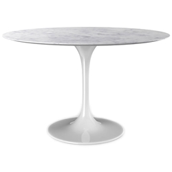 Odyssey 54 in. Round Dining Table - Marble + Glossy White