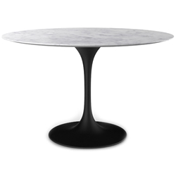 Odyssey 54 in. Round Dining Table - Marble + Matte Black