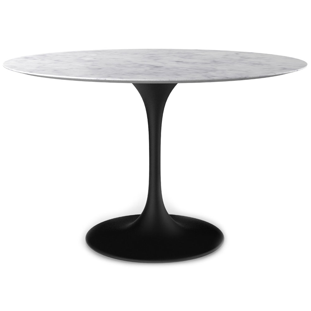 """Odyssey 54"""" Round Marble + Matte Black Dining Table 