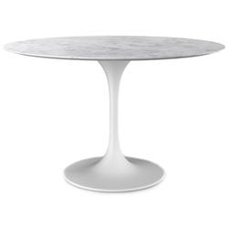 Odyssey 54 in. Round Dining Table - Marble + Matte White