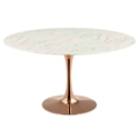 Odyssey 54 in. Round Rose Gold + Faux Marble Dining Table