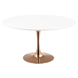 Odyssey 54 in. Round Rose Gold + White Dining Table