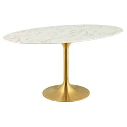 "Odyssey 60"" Oval Gold + Faux Marble Modern Dining Table"
