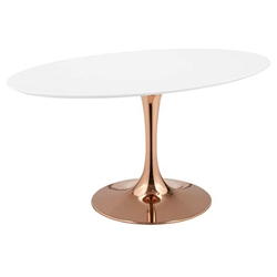 "Odyssey 60"" Oval Rose Gold + White Mid-Century Modern Dining Table"