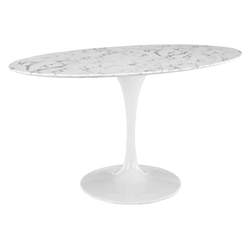 "Odyssey 60"" Oval White Marble Modern Dining Table"