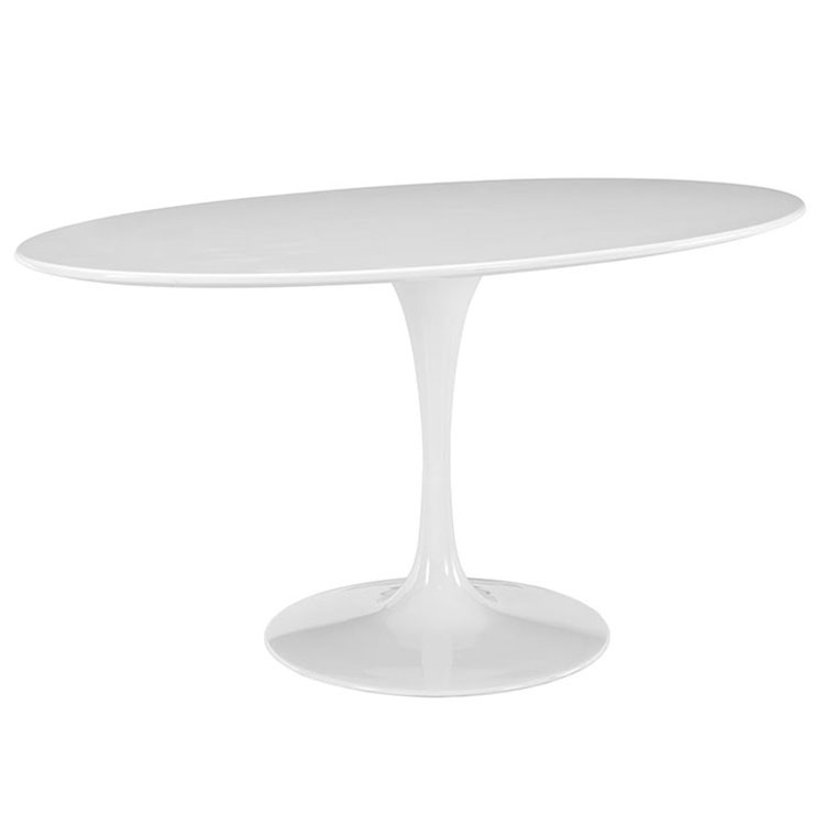 Odyssey 60 Inch Oval White Mid Century Modern Table