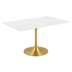 "Odyssey 60"" Rectangle Modern Gold Dining Table"