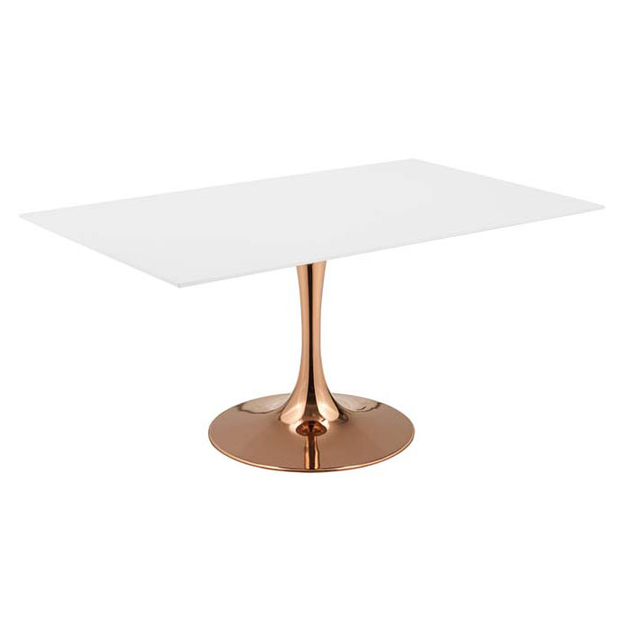 "Odyssey 60"" Rectangle Modern Rose Gold Dining Table"
