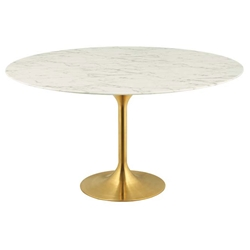 Odyssey 60 in. Round Gold + Faux Marble Dining Table