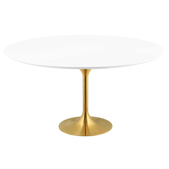 Odyssey 60 in. Round Gold + White Dining Table