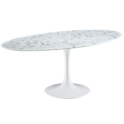 "Odyssey 78"" Oval Faux Marble Modern Dining Table"