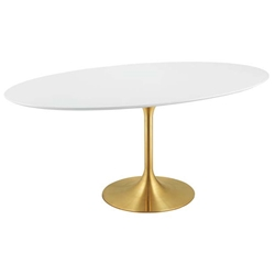 "Odyssey 78"" Oval Gold + White Modern Dining Table"
