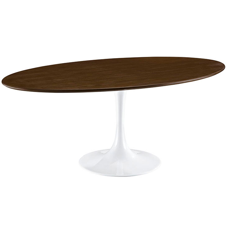 "Odyssey 78"" Oval White + Walnut Modern Dining Table"