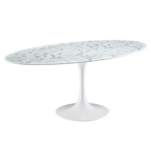 "Odyssey 78"" Oval White Marble Modern Dining Table"