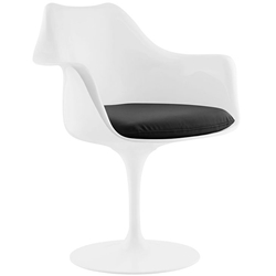Odyssey Modern White + Black Vinyl Arm Chair